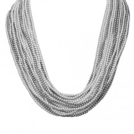 Collana con 21 fili degradè di perle Swarovski grey e light grey