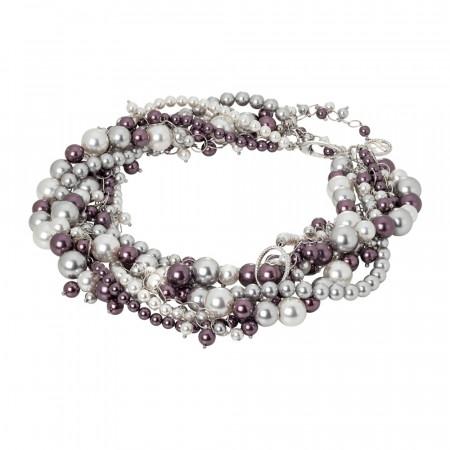 Collana con fili di perle intrecciati burgundi e silver e zirconi