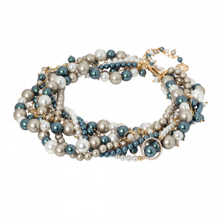 Collana dorata multifilo con perle Swarovski e zirconi