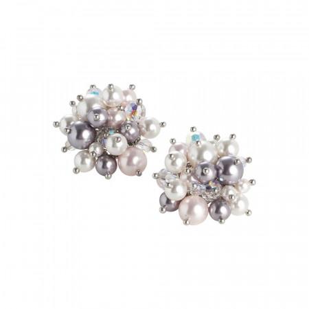 Orecchini a lobo con bouquet di cristalli e perle Swarovski dalle tonalità lilla
