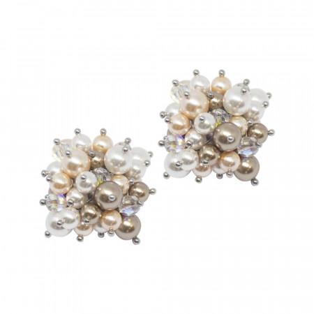 Orecchini con composizione di cristalli e perle Swarovski dalle tonalità oro