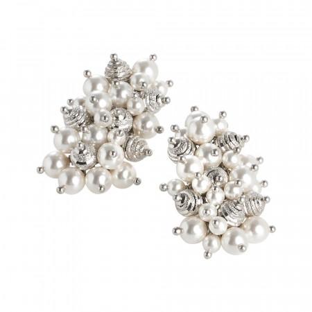 Orecchini con composizione di perle Swarovski bianche e sfere diamantate