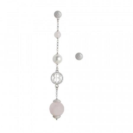 Orecchini asimmetrici con perle Swarovski white e quarzo rosa