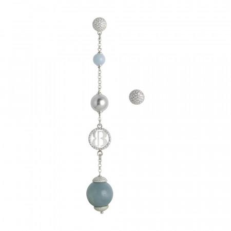 Orecchini asimmetrici con perle Swarovski grey e amazzonite