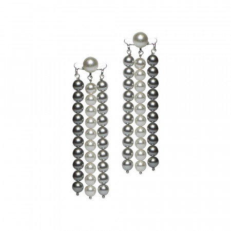 Orecchini con fili di perle Swarovski grey e light grey