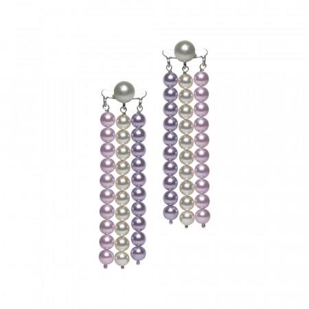 Orecchini con fili di perle Swarovski mauve, rosaline e white