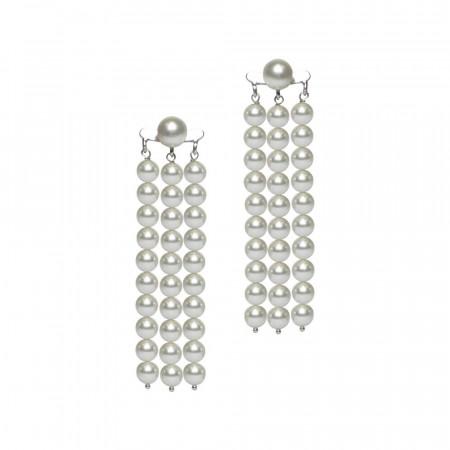 Orecchini con fili di perle Swarovski white