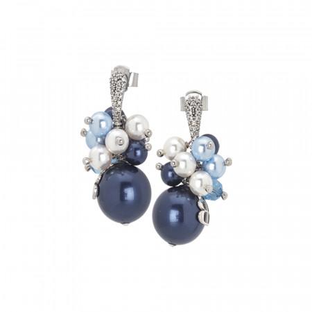 Orecchini con bouquet di perle Swarovski dalle sfumature blu e zirconi