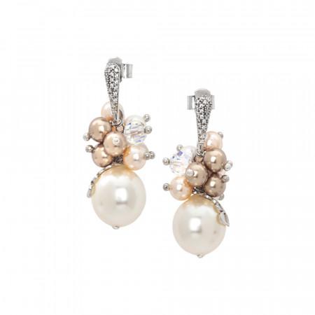 Orecchini con bouquet di perle Swarovski color crema e zirconi