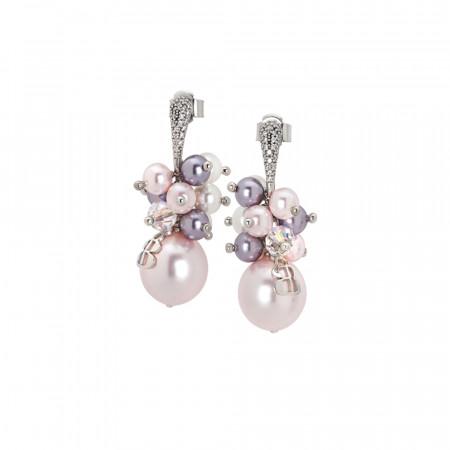 Orecchini con bouquet di perle Swarovski dalle sfumature viola e zirconi