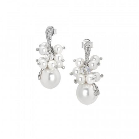 Orecchini con bouquet di perle Swarovski bianche e zirconi