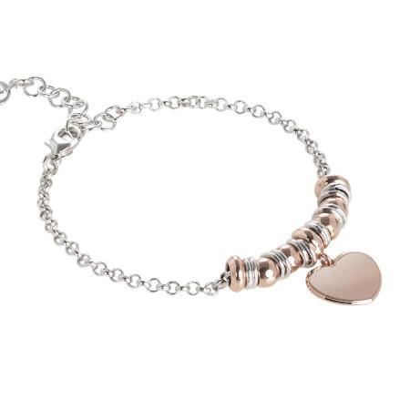 Bracciale bicolor con cuore pendente placcato oro rosa