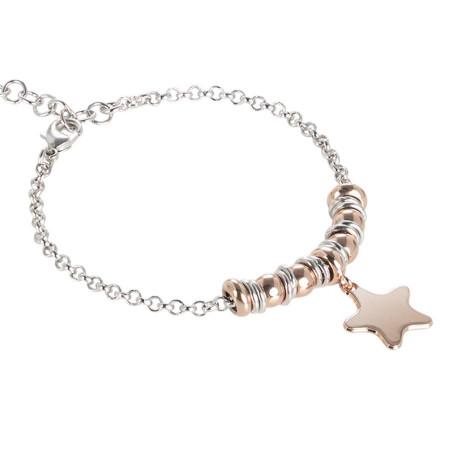 Bracciale bicolor con stella pendente placcato oro rosa