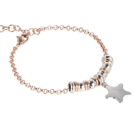 Bracciale bicolor con stella pendente rodiata
