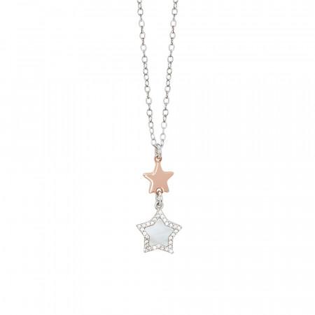 Collana con pendente di stelle in madreperla e zirconi