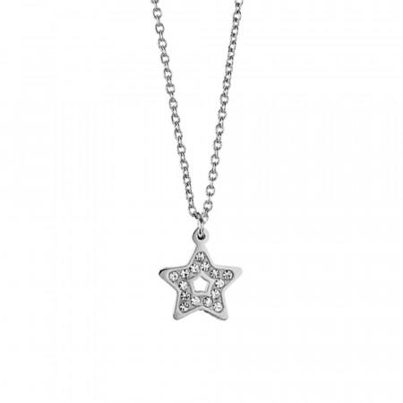 Collana in acciaio con stella pendente e pavè di strass