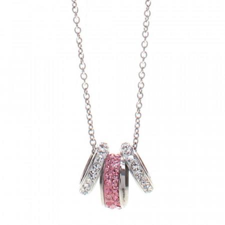 Collana in acciaio con passante in ceramica rosa e pavè di strass