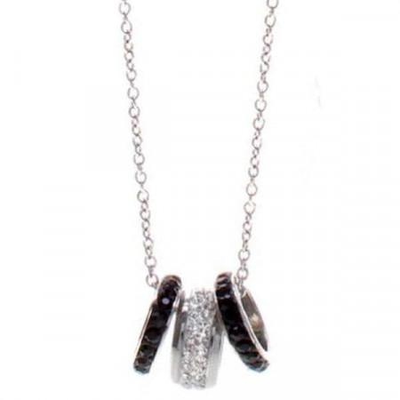 Collana in acciaio con passanti in pavè di strass bianchi e neri
