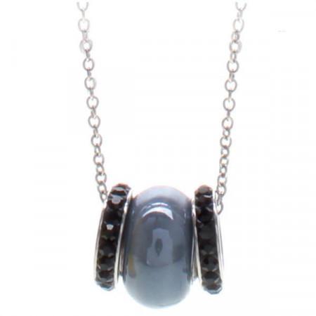Collana in acciaio con passante in ceramica grigio scuro e pavè di strass