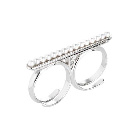 Anello doppio con perle Swarovski