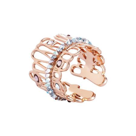 Anello rosato con crystal rock
