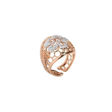 Anello rosato con decoro  glitter silver
