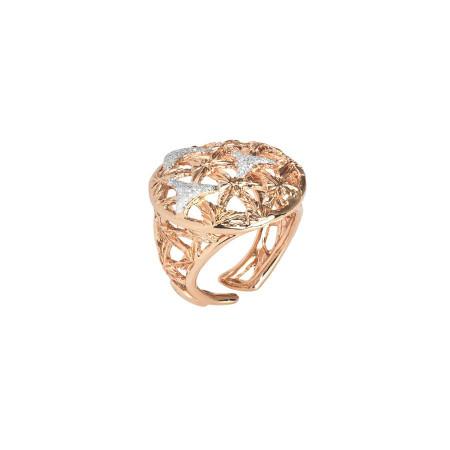 Anello rosato con decoro in glitter silver