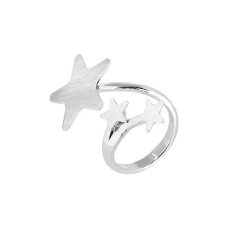 Anello contrariè rodiato con stelle
