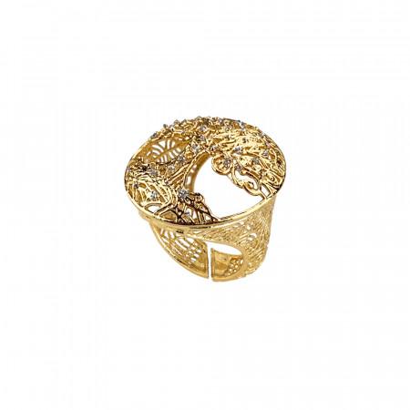 Anello dorato con albero della vita in glitter silver