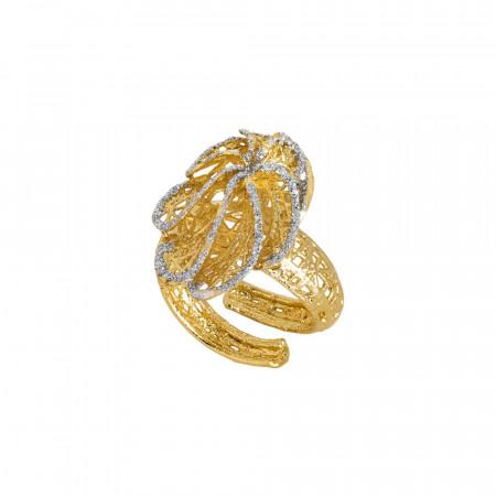 Anello dorato con foglia in glitter silver