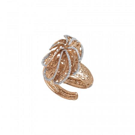 Anello rosato con foglia in glitter silver