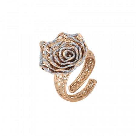 Anello rosato con rosa in glitter silver