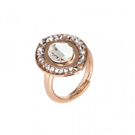 Anello navette rosato con goccia di cristallo Swarovski