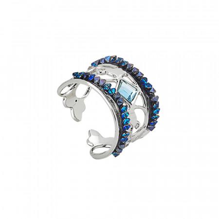 Anello a fascia con crystal rock blu montana
