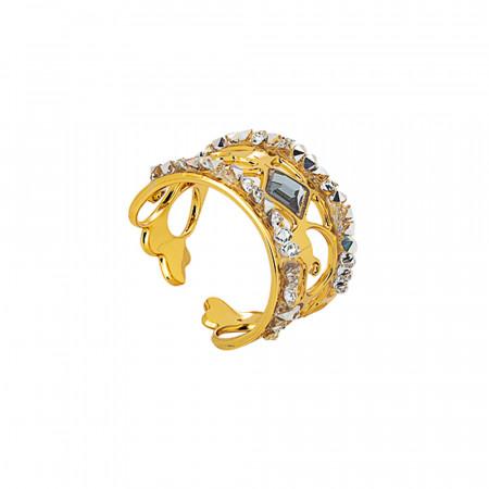 Anello a fascia dorato con crystal rock crystal