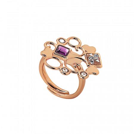 Anello rosato con decoro in cristalli Swarovski