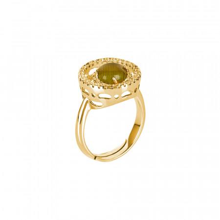 Anello con base di zirconi e cabochon verde olivina gatteggiante
