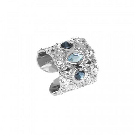 Anello a fascia con Swarovski blu