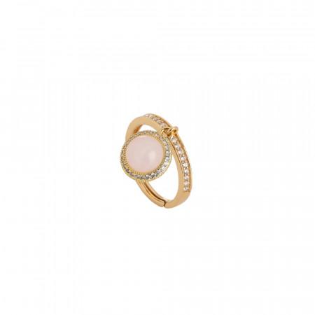 Anello con cabochon pendente rosa chiaro e zirconi