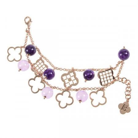 Bracciale doppio filo placcato oro rosa con perle naturali e motivi decorativi a croce