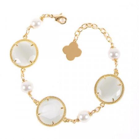 Bracciale con elementi decorativi circolari e perle Swarovski bianche
