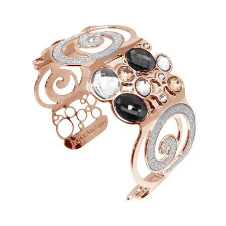 Bracciale rigido con glitter e mosaico di Swarovski dalle sfumature silver