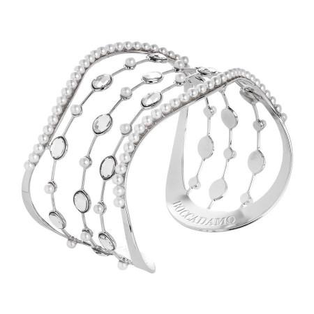 Bracciale rigido con perle e cascata di cristalli Swarovski