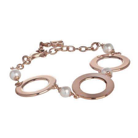 Bracciale rosato con perle Swarovski e moduli circolari