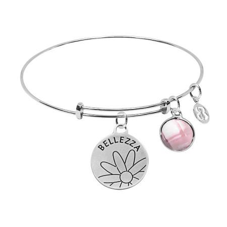 """Bracciale con medaglietta """"Bellezza"""" e cristallo briolette rosa"""