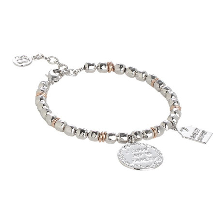 """Bracciale beads con medaglietta """"I love my family"""""""