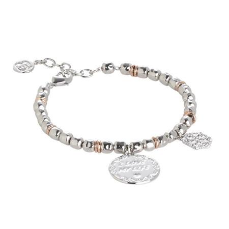 """Bracciale beads con medaglietta """"I love my life"""""""
