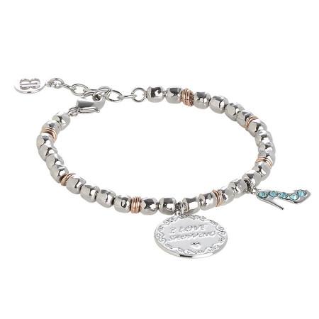 """Bracciale beads con medaglietta """"I love shopping"""""""
