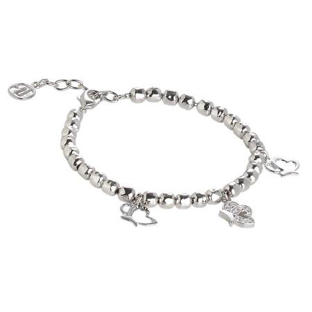 Bracciale beads con charms a farfalla e zirconi