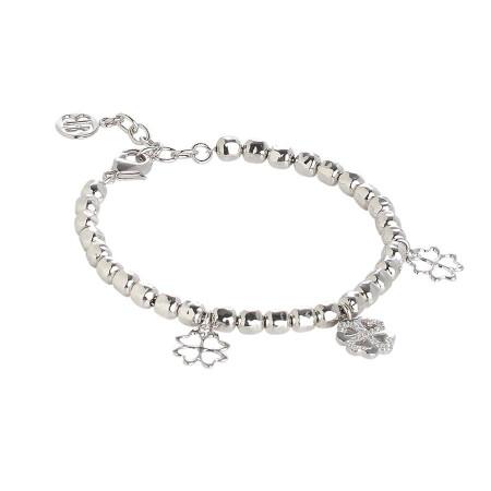 Bracciale beads con charms a quadrifoglio e zirconi